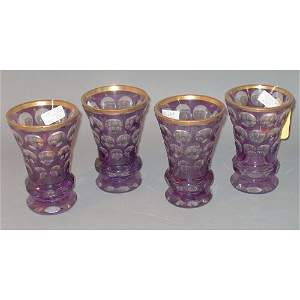 155: 12-PIECE CUT-TO-CLEAR AMETHYST GLASS VASE LOT 20th