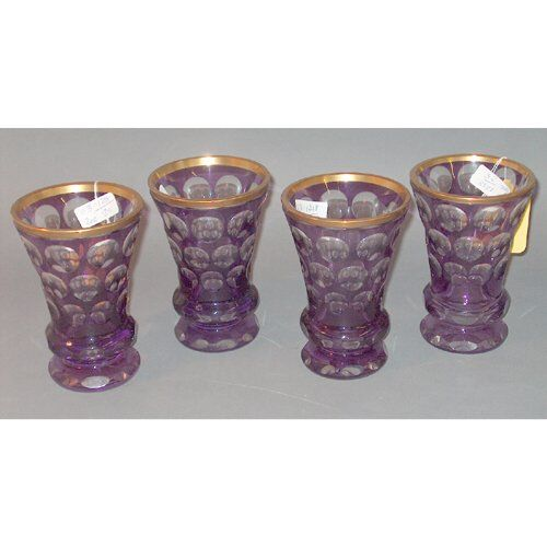 12-PIECE CUT-TO-CLEAR AMETHYST GLASS VASE LOT 20th