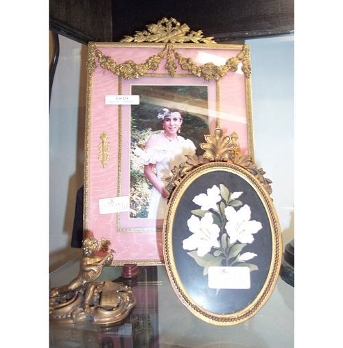 TWO FRENCH-STYLE FRAMES & BRASS PUTTI FIGURE 20th