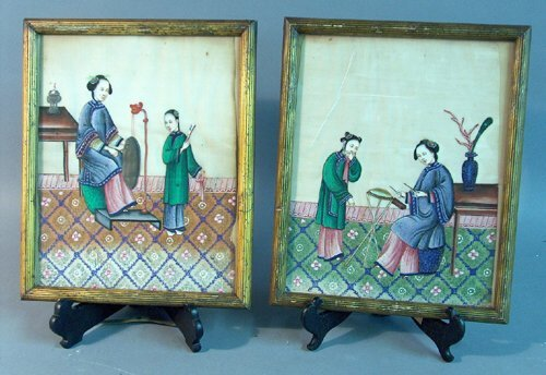 489: PAIR OF CHINESE PAINTINGS ON RICE PAPER 20th c. Of