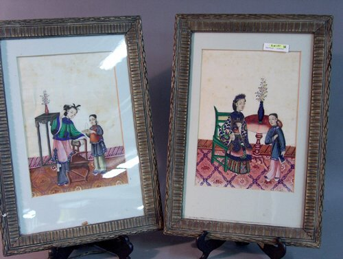 490: PAIR OF FRAMED CHINESE PAINTINGS ON RICE PAPER 19t