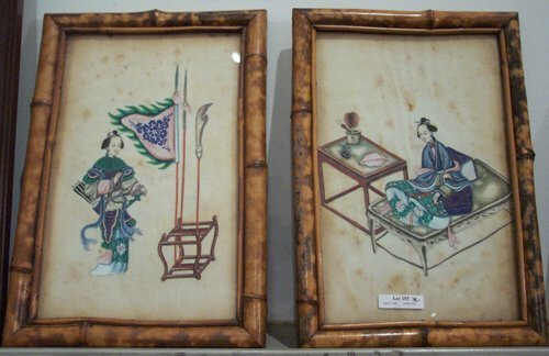 491: PAIR OF FRAMED CHINESE PAINTINGS ON RICE PAPER 20t