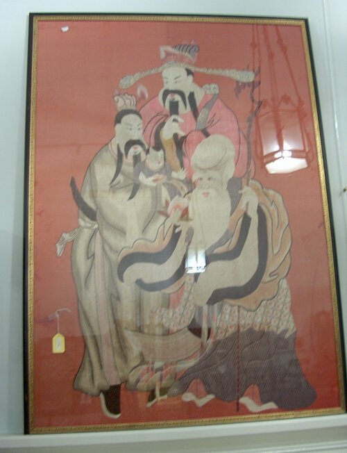 492: LARGE FRAMED EMBROIDERY ON SILK 19th / 20th c. The