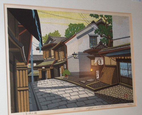 493: FRAMED JAPANESE WOODBLOCK PRINT Street scene. Fram