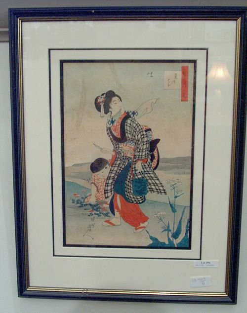 496: FRAMED WOODBLOCK PRINT Depiction of a geisha with