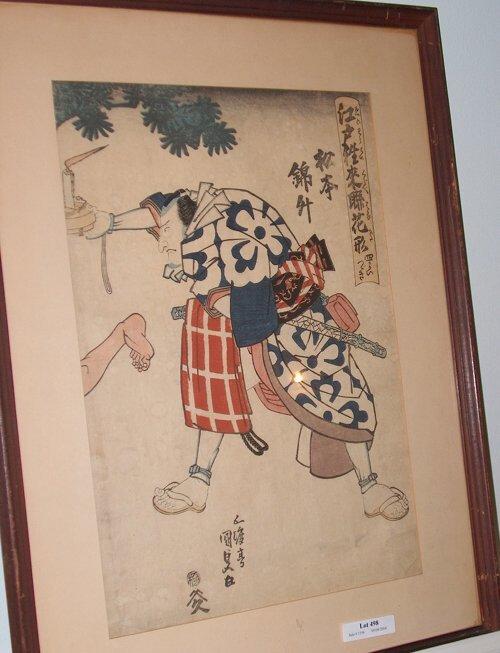 498: FRAMED WOODBLOCK PRINT Depiction of a warrior. Fra