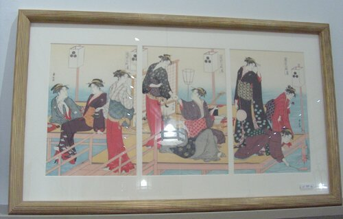 500: PAIR OF JAPANESE WOODBLOCK TRIPTYCHS 20th c. By Ki