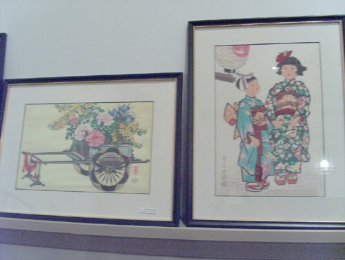 501: FOUR JAPANESE WOODBLOCK PRINTS 20th c. Flower Cart