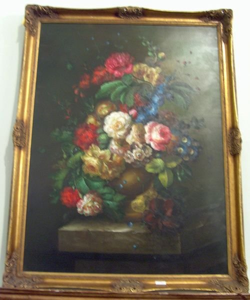 504: OIL ON CANVAS 20th c. Floral still life. With brig
