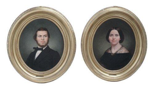 506: CALVIN CURTIS Ca. 1869 Pair of Victorian portraits