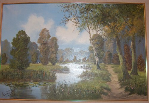 508: A. WILLIAM 20th c. Oil on canvas, landscape with s