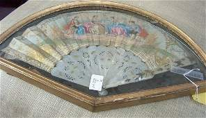 546: MOTHER-OF-PEARL FAN IN SHADOWBOX FRAME Late 19th c