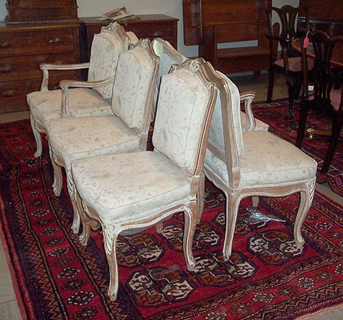 828: SIX COUNTRY FRENCH DINING CHAIRS With carved scrol