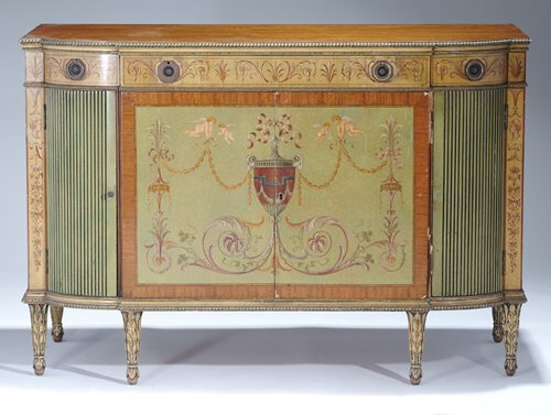840: SHERATON-STYLE PAINTED SATINWOOD SIDE CABINET 20th