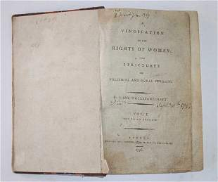 1 vol. Wollstonecraft, Mary. A Vindication of the