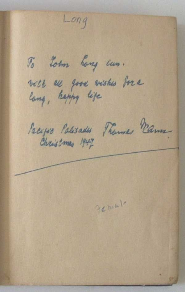 1529: 1 piece + 1 vol.  Thomas Mann Autograph Material: