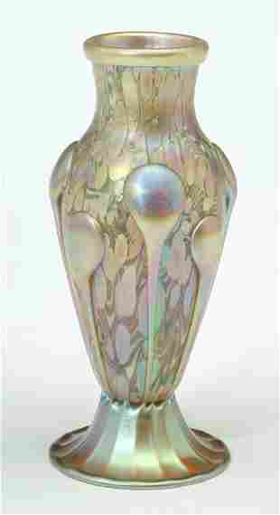 QUEZAL ART GLASS CABINET VASE Blown glass; etched