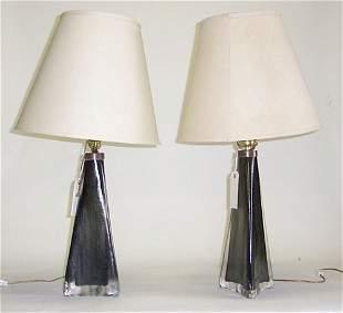 PAIR OF ORREFORS TABLE LAMPS Blown glass; each en