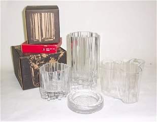 "LOT OF IITTALA GLASS Molded glass; a Savoy"" vase"