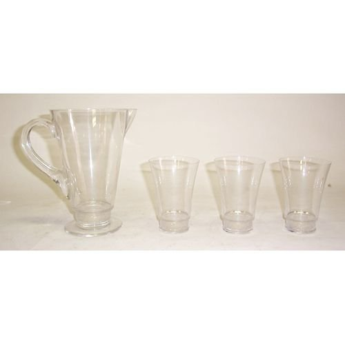 3009: LALIQUE CRYSTAL WATER SET Molded & blown glass; i