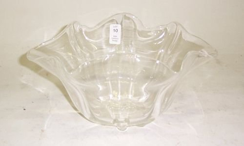 3010: STEUBEN CRYSTAL HANDKERCHIEF VASE Crystal; acid s