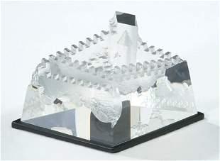 STEUBEN CRYSTAL CASTLE Molded & polished crystal;