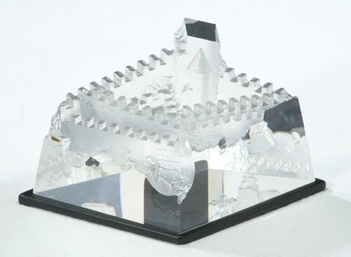 3011: STEUBEN CRYSTAL CASTLE Molded & polished crystal;