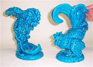 PAIR OF RAOUL LACHENAL FIGHTING COCKS Glazed cera