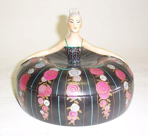 3018: FRENCH ART DECO PORCELAIN SACHET BOX 1920s / 30s