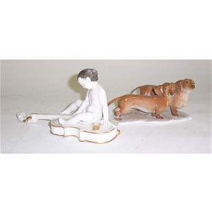 TWO ROSENTHAL PORCELAIN FIGURES Painted and glaze