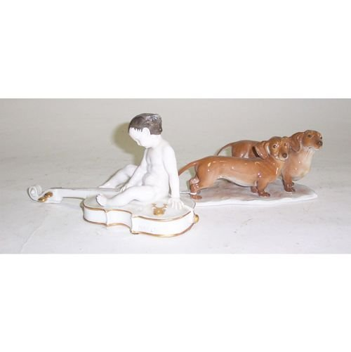 3020: TWO ROSENTHAL PORCELAIN FIGURES Painted and glaze