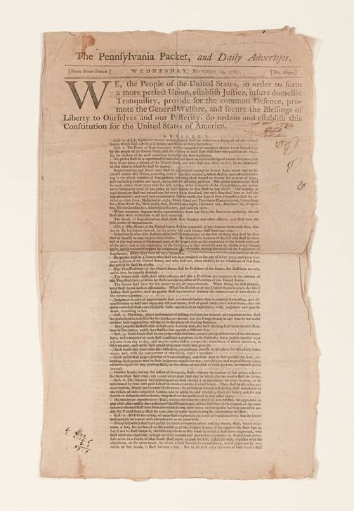 1005: 1 piece. [United States Constitution.] The Pennsy