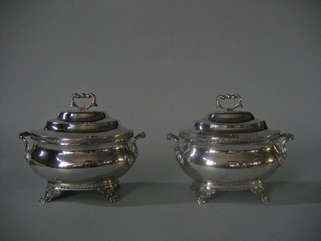 1159: Pair of silver twin-handled sauce tureens, edward
