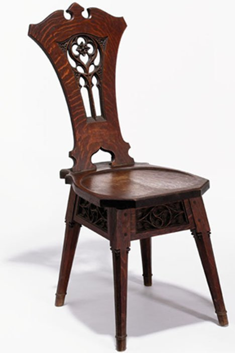 2401: Rose Valley carved oak side chair, early 20th cen