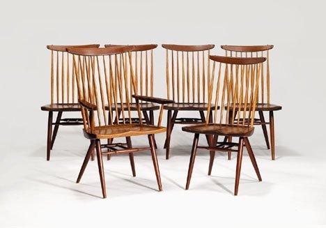 2405: Chairs by George Nakashima, circa 1955, Set of si
