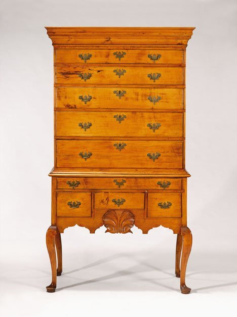 2471: Queen Anne maple high chest of drawers, new engla