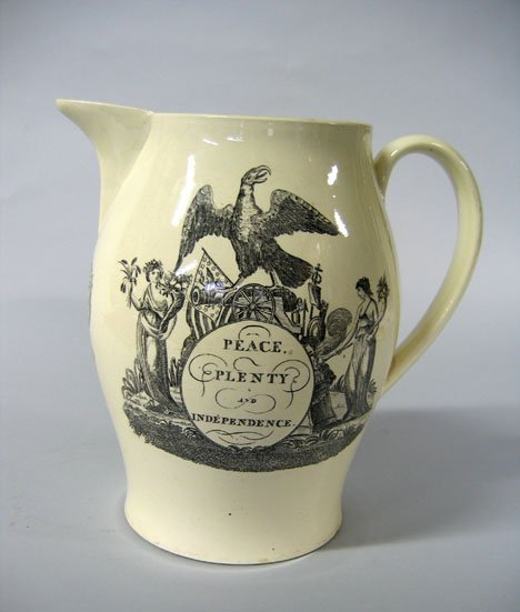 11003: Liverpool transfer-decorated creamware pitcher,