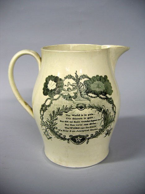 11005: Liverpool transfer-decorated creamware pitcher,