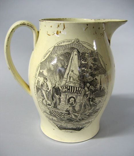 11006: Liverpool transfer-decorated creamware pitcher,