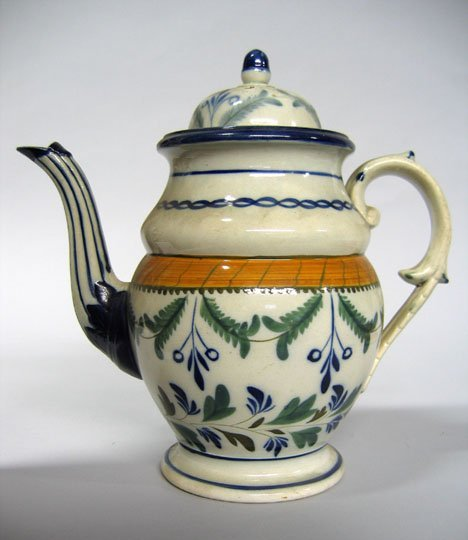 11012: Staffordshire pearlware coffeepot, early 19th ce