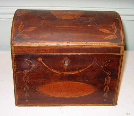 11016: Inlaid mahogany dome-top tea caddy, early 19th c