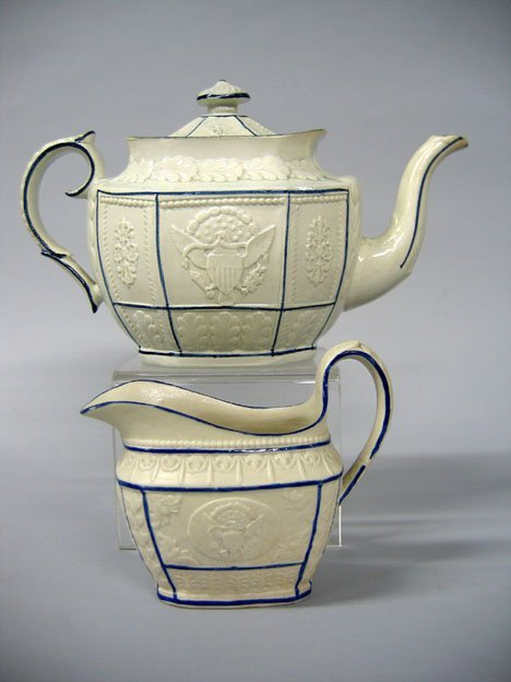 11019: Staffordshire glazed and molded pearlware teapot