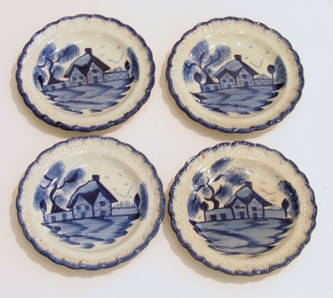 11022: Four Staffordshire pearlware dessert plates, 19t