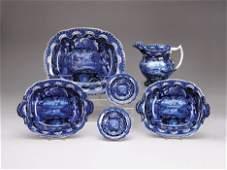 11089: Six Staffordshire Historical Blue transfer-decor