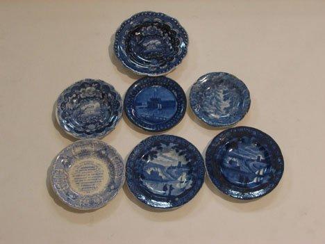 11096: Seven Staffordshire Historical Blue transfer-dec