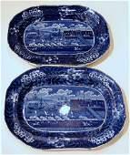 11109: Two Staffordshire Historical Blue transfer-decor