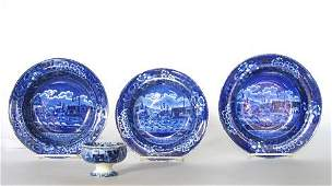 11138: Staffordshire Historical Blue transfer-decorated