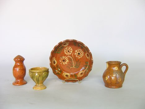 11325: Group of glazed redware and stoneware table item