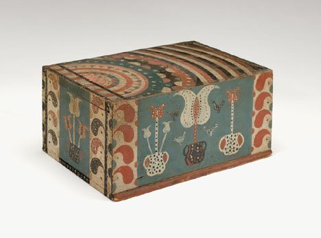 21341: Painted, decorated and incised pine candlebox, p