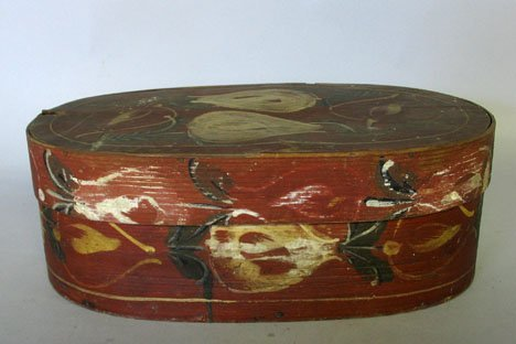 21344: Painted and decorated bride's or ribbon box, 19t